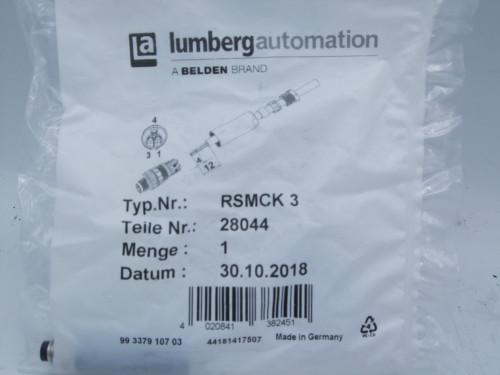 (3) Lumberg Automation RSMCK 3 Circular M8 Plug, 3 Position 4A, 63V, 20-26AWG