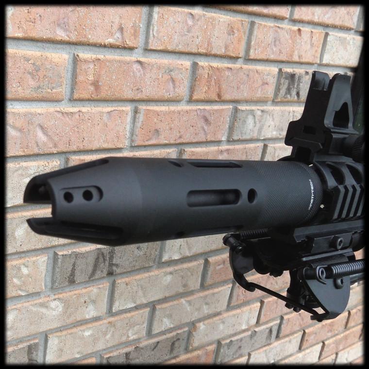 Angled Ported Slotted Muzzle Brake Style Barrel Shroud  AR 15