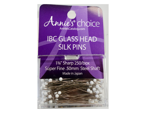 "1 3/8"" IBC Glass Head Silk Pins"