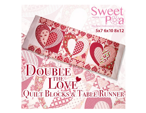 Double The Love Quilt Blocks And Table Runner 5x7 6x10 8x12