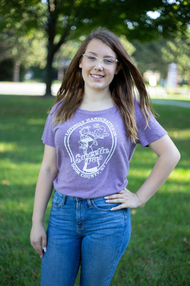 Ladies Boat Neck, Drape T-shirt