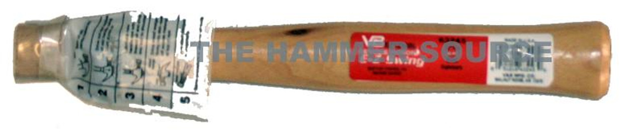 "Vaughan 12"" straight handle for 24oz Brick Hammer BL24, oval eye 1 1/8"" x 9/16"""