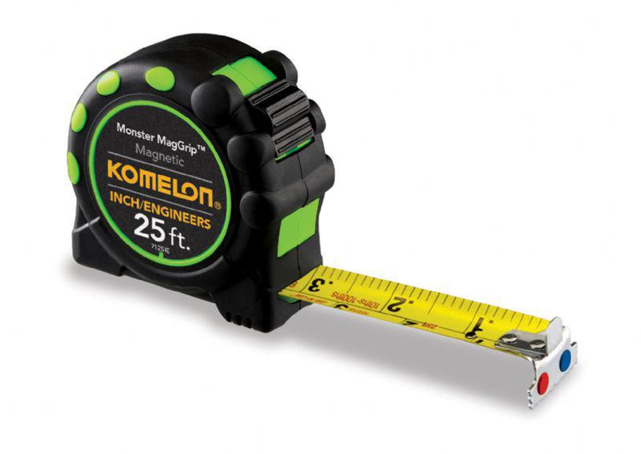 25' Monster MagGrip Tape Measure, (IE scale) Nylon Coated Steel Blade.