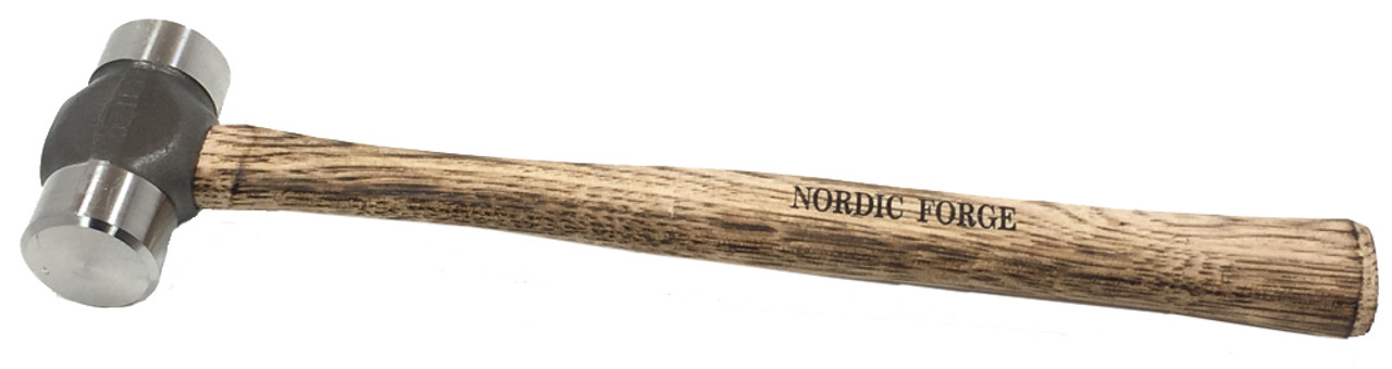 Nordic Forge 2 lb Farrier Rounding Hammer, 1 1/2 inch faces one rounded, one flat, 15 1/2 inch hickory handle.