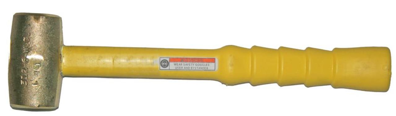 "3 lb Brass Hammer, 1 3/4"" face, 14"" Notched Grip Polyclad Fiberglass handle"