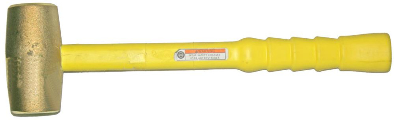 4 lb Brass Hammer, 1 7/8 inch face, 14 inch Notched Grip Polyclad Fiberglass handle
