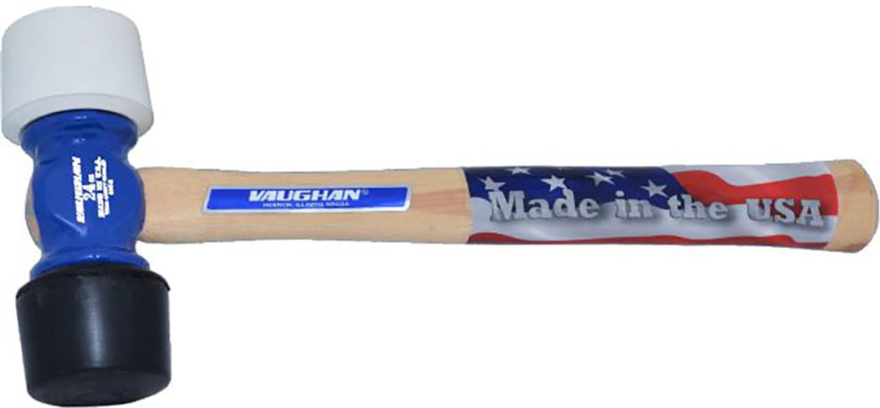 Vaughan RM24 1 1/2 lb. Rubber Mallet, 1 White 1 Black Replaceable tip, wood handle.