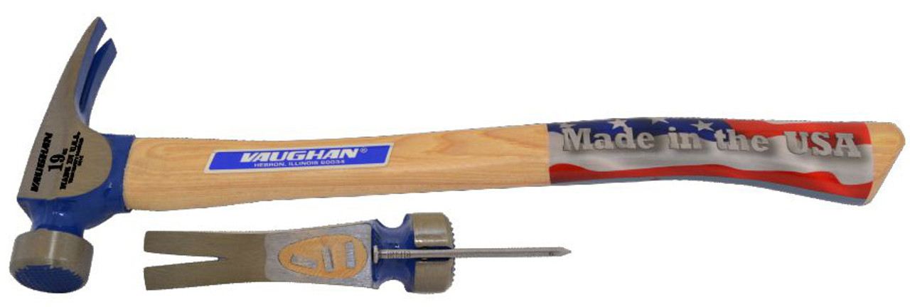 "Vaughan CF2HC 19 oz. California Framer, milled face, 17"" curved wood handle."