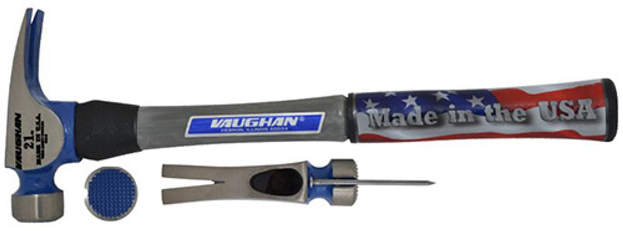 "Vaughan CF21FG 21 oz. California Framer, milled face, straight claw, 16"" straight fiberglass handle."