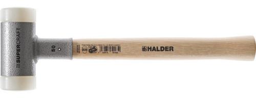 "Halder Supercraft 1 lb. 9 oz. Dead Blow Mallet, 1.6"" white nylon face, 14"" tool length, wood handle."