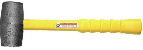 "5 lb. Malleable Iron Hammer with 16"" Poly clad fiberglass notched grip handle."