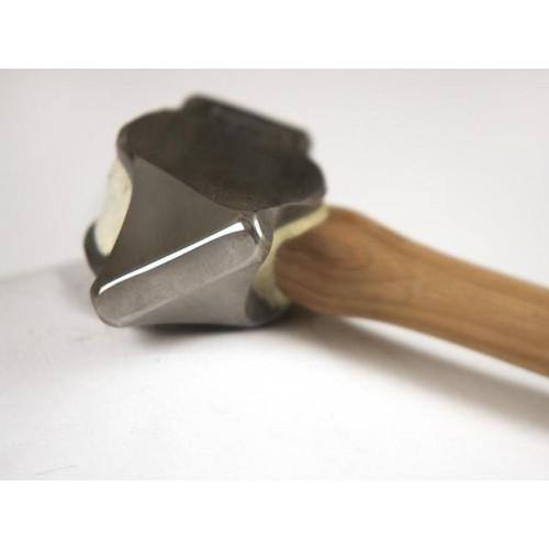 Big Blu 2.6 lb. Left-Hand diagonal Hand-Forged Cross Pein Hammer with wood handle.