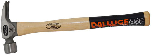 "Dalluge 14 oz Titanium Hammer, smooth face, 17"" straight hickory handle."
