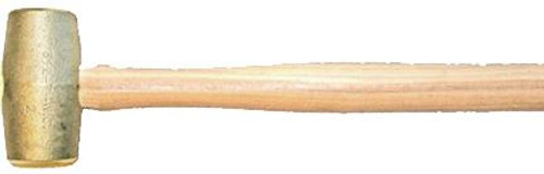 "5 lb Brass Hammer, 2"" diameter face, 16 inch hickory handle"