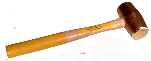 "3 lb Copper Hammer, Yellow safety-grip 16"" hickory handle"