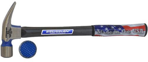 """Vaughan 24oz. Straight Claw, Milled face, 17"""" Fiberglass Hollow core handle."""