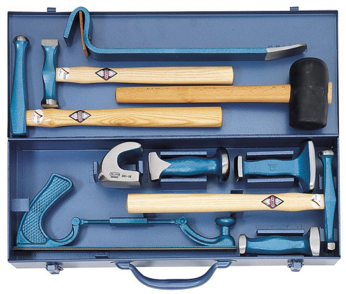 Picard 10 Piece Bumping Tool set in sheet metal box, 4 hammers, 4 dollies, 2 Pry spoons. Click on image for details.
