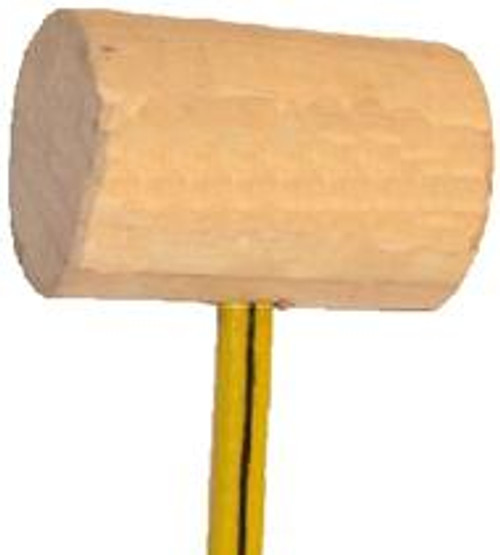 "WM4FL 4"" laminated wood mallet, 6"" long, 20-36"" Fiberglass handle, 1.7 Ib head weight."