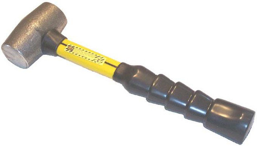 """3MIF 3 lb Malleable Iron Hammer, 14"""" Fiberglass handle with notched rubber grip."""