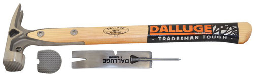 "Dalluge 7180 (DDT16) 16 oz. Titanium hammer, milled face, side nail puller, magnetic nail set, 16"" straight wood handle"