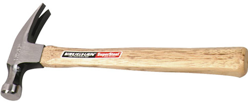 """16 oz. Vaughan Super Steel, octagon face, straight claw, smooth face, 13"""" wood handle."""