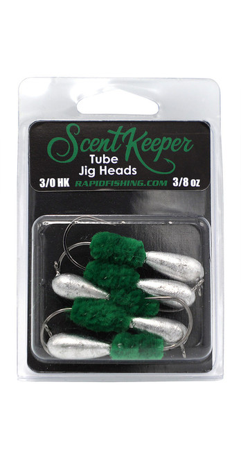 Rapid Fishing Solutions Scent Keeper Tube Jig Heads. Green. 3/0 HK, 3/8 oz. Perfect for deeper waters of 30 feet and over.