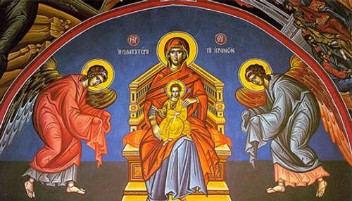 """Icon of the Theotokos """"More Spacious than the Heavens"""" (Platytera) - (12H05)"""