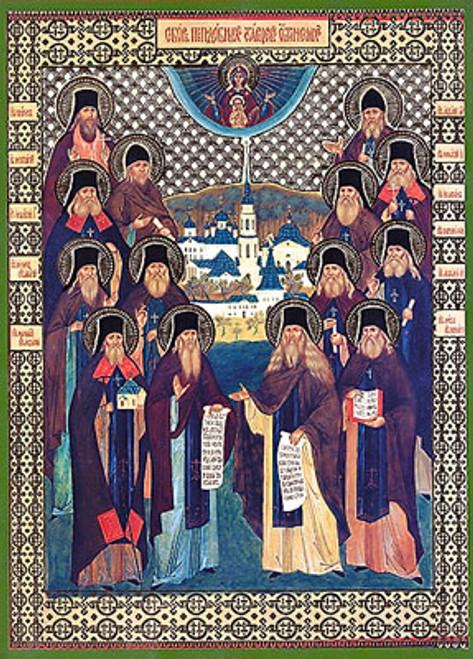 Icon of the Optina Elders - 20th c. Russian - (1OE10)