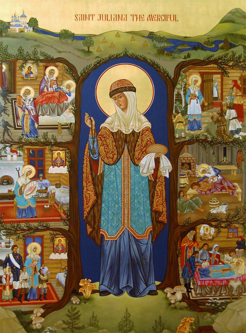 Icon of St. Juliana the Merciful of Lazarevo - (with scenes from her life) - (1JZ11)
