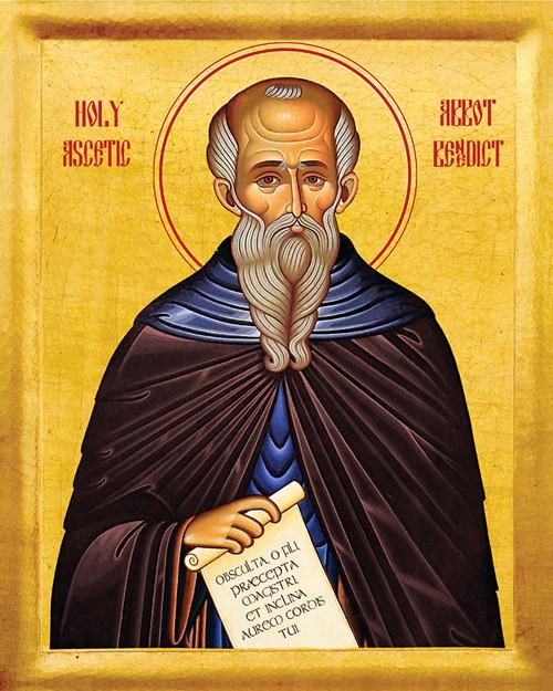 Icon of St. Benedict of Nursia - 20th c. - (1BE07)