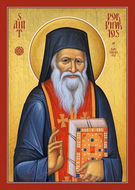 Icon of St. Porphyrios of Kavsokalivia (red epitrachilion)  - (1PO15)
