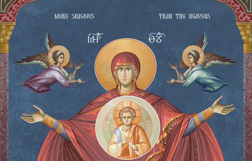 """Icon Of The Theotokos """"More Spacious Than The Heavens"""" (Platytera) - 20th c. fresco"""