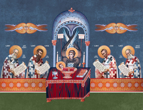 The Heavenly Liturgy including 4 Fathers/Hierarchs