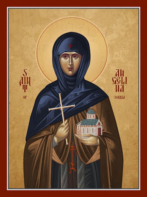 Traditional Orthodox Icon of Saint Angelina of Serbia.