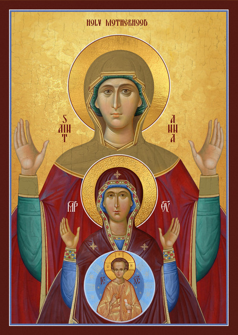 Icon of Holy Motherhood. St. Anna, Holy Theotokos and Christ child.