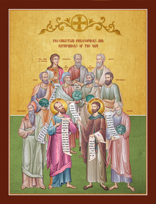 A Traditional and contemporary icon of Sts. Paul and Justin along with the classical philosophers behind them.