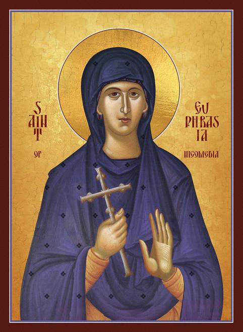 A Traditional and contemporary icon of Saint Euphrasia of Nicomedia.