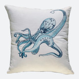 Octopus Linen Cushion Cover  Sky-blue