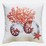 Nautilus Linen Cushion Cover Red