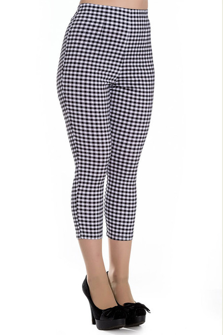 Hell Bunny black and white gingham plaid capri pants front angle view