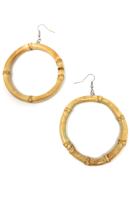 Tiki bamboo round hoop earrings