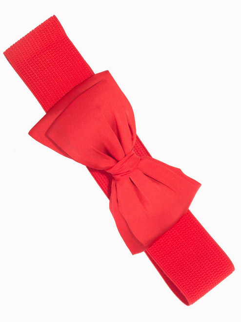 Banned Bella Chiffon Bow Stretch Belt - Red