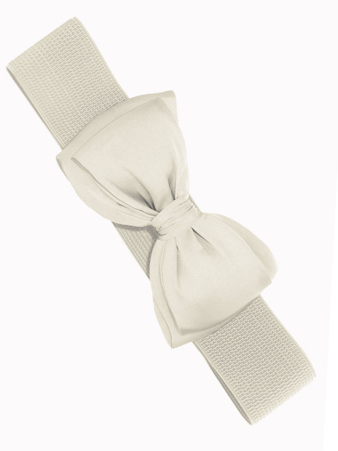 Banned Bella Chiffon Bow Stretch Belt - Ivory