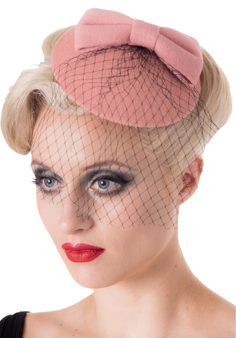 Banned apparel candice pillbox fascinator hat in pink