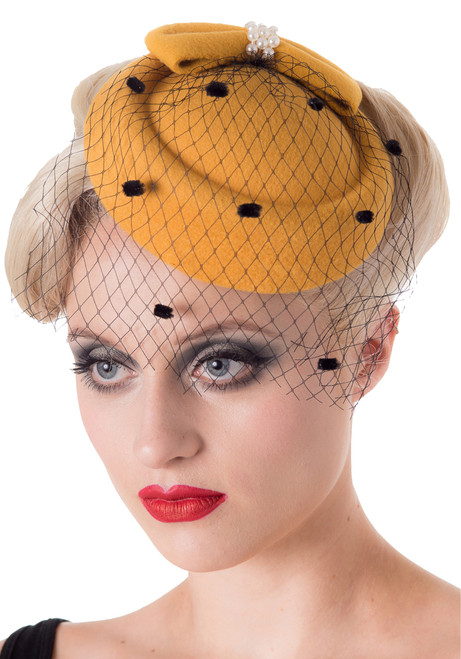 banned apparel judy pillbox facsinator in mustard