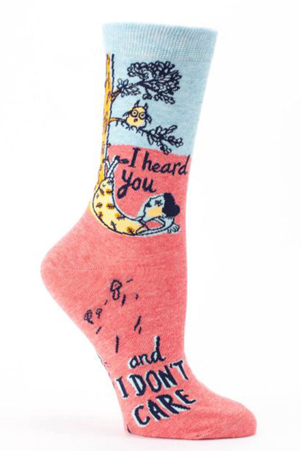 blue q womens crew sock - i heard you and i don't care