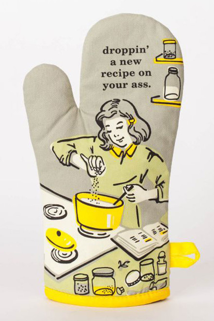 blue q oven mitt - droppin' a new recipe on your ass