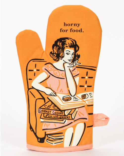 blue q oven mitt - horny for food