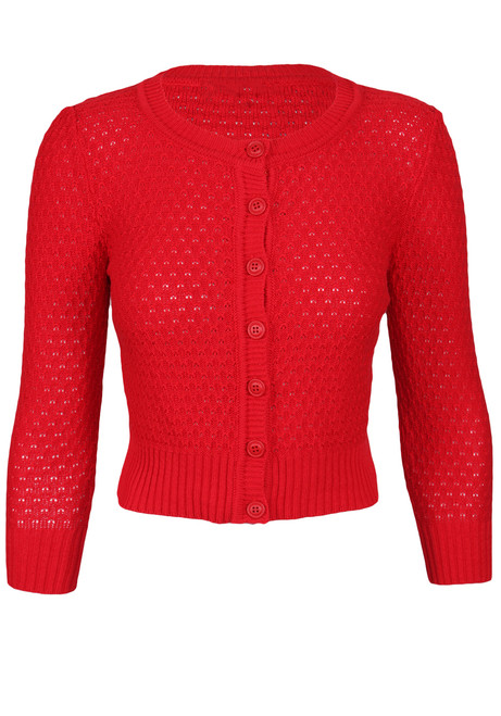 crochet knit crop cardigan red front