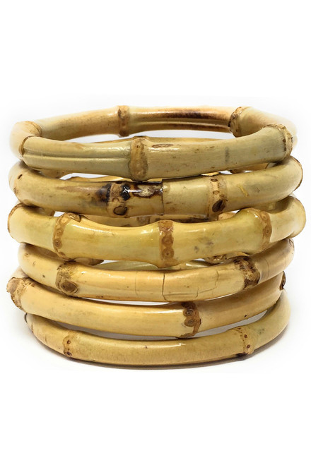 tiki bamboo bangle set stack